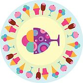 colorful tasty ice-creams icons, vectro illustration