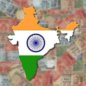 India Map flag on blurred Rupees
