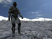 science fictional character in a strange and hostile world. 3D rendering over background scene