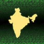 India map over green binary code