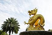 Chinese Golden Dragon Statue in Phuket, Thailand.