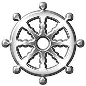 3D Silver Buddhism Symbol Wheel of Dharma
