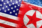 USA and North Korea Flag with a vintage and old look