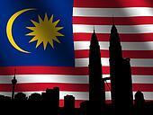 Petronas Towers with Malaysian flag