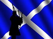 bag piper with Scottish flag