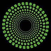 Concentric circles of dollar symbols