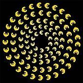 circles of euro symbols