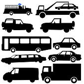 assorted vehicle silhouettes