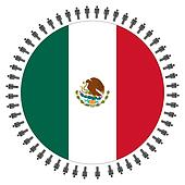 Mexican flag with people