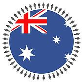 Australian flag with people