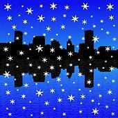 Baltimore skyline in winter