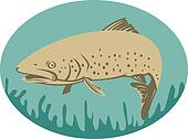 Spotted or speckled Trout swimming done in retro style