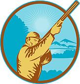 Hunter with shotgun  rifle and mountains in background done in retro style.