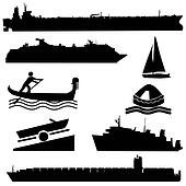 assorted boat silhouettes