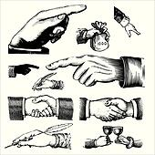 antique hands engravings (vector)