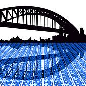 Sydney harbour bridge with text