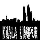 grunge Kuala Lumpur with skyline