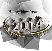 Vector happy new year 2014 reflection wave colorful creative design illustration