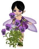 Cute Toon Purple Pansy Fairy, Stand