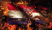 Croatia Burning Fire Flag War Conflict Night 3D
