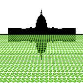 Capitol Building with dollar symbols