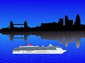 London skyline with cruise ship