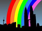 Kuala Lumpur skyline with rainbow