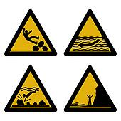 assorted beach hazard signs