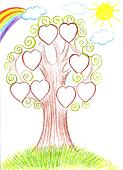 Family tree. Genealogical tree artwork illustration