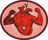 Happy and healthy  heart flexing its muscle