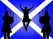 pipers and highland dancer