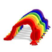 seven symbolic 3d male toon characters in the colors of a rainbow. 3D rendering with clipping path and shadow over white