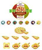 Vector set of pizza, restaurant menu icons