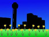 Reunion tower in spring