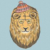 vector serious cartoon hipster Lion