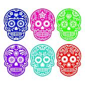 Mexican sugar skull in color