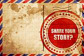 share your story, red grunge stamp on an airmail background