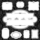 Vector Damask Pattern and Frame Set