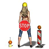 young and sexy woman says: please stop. 3D rendering with clipping path and shadow over white