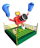 Red camera character jump in green ring. Create 3D Camera Robot Series.