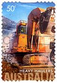 Australia - circa 2008 :  an Australian postal stamp cancelled depicting  heavy haulers machinery mining