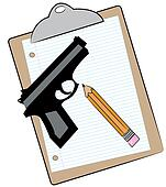 clipboard with paper pencil and gun