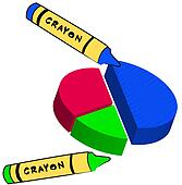 blue wax crayon coloring circle graph