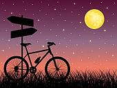 Night landscape with a bike