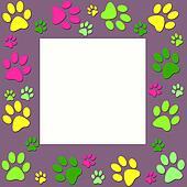 Animal paws  colorfull  frame