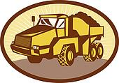 illustration of a mining Tipper dumper dump truck or lorry set inside an ovall done in retro woodcut style.