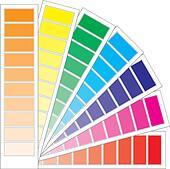 Color guide chart, cmyk rainbow background, part 3, vector illustration