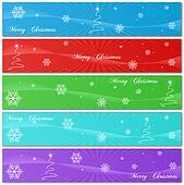 Various colorful Christmas banners.