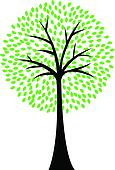 Art tree silhouette isolated on whi