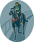 Horse and jockey racing  on race track done in retro style.